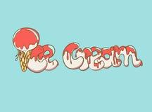 Texte de crème glacée de bande dessinée Image stock