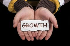 Texte de croissance en main Photos stock