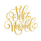 Texte de décoration de lettrage de main de Feliz Navidad pour le calibre de salutation de design de carte Label de typographie de illustration libre de droits
