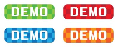 Texte de DÉMO, sur le rectangle, signe de timbre de modèle de zigzag Photographie stock libre de droits