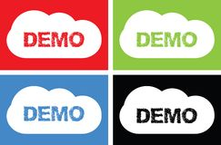 Texte de DÉMO, sur le signe de bulle de nuage Photographie stock libre de droits