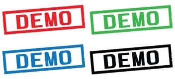 Texte de DÉMO, sur le signe de timbre de frontière de rectangle Photographie stock libre de droits