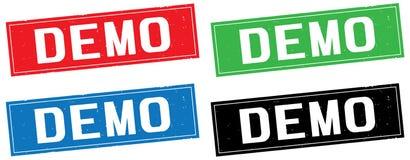 Texte de DÉMO, sur le signe de timbre de rectangle Image libre de droits