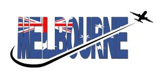 Texte de drapeau de Melbourne avec l'illustration d'avion et de bruissement Images libres de droits