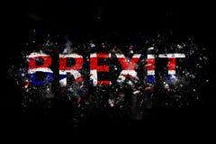 Texte de explosion de Brexit dans des couleurs d'Union Jack photos libres de droits