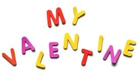 Texte de félicitations des lettres colorées mon Valentine sur le fond blanc Images libres de droits