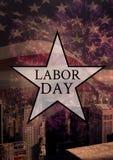 Texte de Fête du travail au-dessus de drapeau des USA Image stock