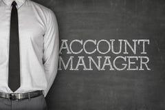Texte de gestionnaire de comptes sur le tableau noir photos stock