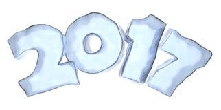 Texte de glace de bleu de la bonne année 2017 d'isolement illustration libre de droits