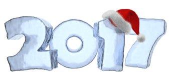 Texte de glace de 2017 bonnes années avec le chapeau rouge illustration de vecteur