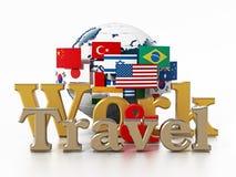Texte de globe, de drapeaux, de travail et de voyage d'isolement sur le fond blanc illustration 3D Images libres de droits