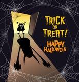 Texte de Halloween avec le petit zombi moulant l'ombre effrayante énorme illustration stock