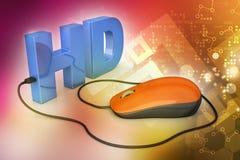 Texte de Hd lié à la souris d'ordinateur Photo libre de droits
