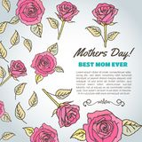 Texte de jour de mères La meilleure maman jamais Fond avec des roses Illustration de vecteur Carte florale pour la maman Image libre de droits