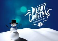 Texte de Joyeux Noël avec le bonhomme de neige image stock