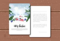 Texte de Joyeux Noël de carte de voeux de vacances au-dessus de texture en bois de Forest Landscape Background Postcard On d'hive Images stock