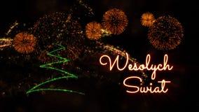 """Texte de Joyeux Noël dans """"Wesolych polonais Swiat"""" au-dessus de pin et de feux d'artifice photographie stock libre de droits"""