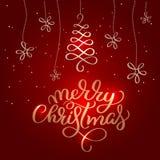 Texte de Joyeux Noël dessus sur le fond rouge de vacances Illustration tirée par la main EPS10 de vecteur de lettrage de calligra Photos libres de droits