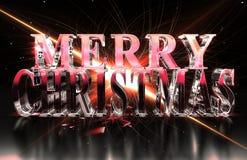 Texte de Joyeux Noël en matériel en verre avec l'éclat rouge et les caustiques Photographie stock libre de droits