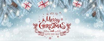 Texte de Joyeux Noël et de nouvelle année sur le fond neigeux blanc avec les branches gelées argentées de sapin, boîte-cadeau photo libre de droits