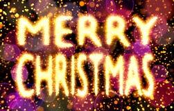 Texte de Joyeux Noël fait de bokehs avec le fond d'étincelles, rouge et pourpre de bokehs Image libre de droits