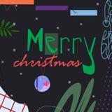 Texte de Joyeux Noël sur l'illustration foncée de vecteur de fond illustration stock