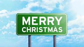 Texte de Joyeux Noël sur un panneau routier clips vidéos