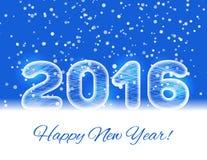 texte de la glace 2016 sur un fond bleu avec une neige en baisse Carte de la nouvelle année 2016 Photos stock