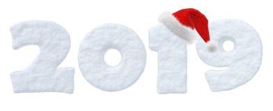texte de la neige 2019 avec le chapeau de rouge de Santa Claus Illustration Libre de Droits