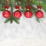 Texte de la nouvelle année 2015 sur des babioles de Noël Photos stock