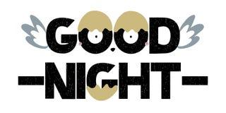 Texte de lettrage de bonne nuit avec des ailes Vecteur Photographie stock