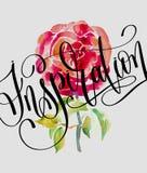 Texte de lettrage - inspiration et rose faite main de rouge d'aquarelle Photos libres de droits