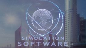 Texte de logiciel de simulation avec l'hologramme 3d de la terre de planète contre le contexte de la métropole moderne