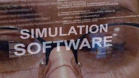 Texte de logiciel de simulation sur le fond du promoteur femelle clips vidéos