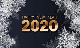 Texte de luxe de vecteur d'or 2020 bonnes ann?es Conception de f?te de nombres d'or, texture de diamants Confettis brillants de s illustration stock