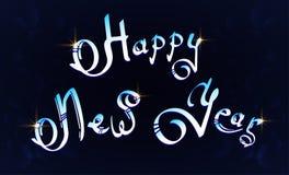 Texte de main-lettrage de bonne année sur le fond bleu illustration de vecteur