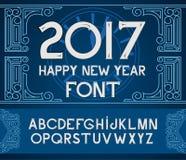 Texte 2017 de main-lettrage de bonne année sur le fond bleu de modèle Collection faite main de calligraphie de vecteur Photo stock