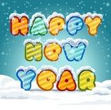 Texte 2017 de main-lettrage de bonne année sur le fond neigeux Collection faite main de calligraphie Photographie stock libre de droits