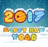 Texte 2017 de main-lettrage de bonne année sur le fond neigeux Collection faite main de calligraphie Image stock