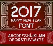 Texte 2017 de main-lettrage de bonne année sur le fond rouge de modèle Collection faite main de calligraphie de vecteur Photos stock