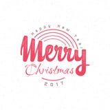 Texte 2017 de main-lettrage de Joyeux Noël et de bonne année Calligraphie faite main de vecteur pour votre conception Photographie stock
