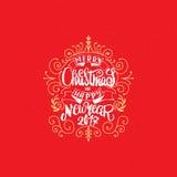 Texte 2017 de main-lettrage de Joyeux Noël et de bonne année Calligraphie faite main de vecteur pour votre conception Image libre de droits