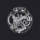 Texte 2017 de main-lettrage de Joyeux Noël et de bonne année Calligraphie faite main de vecteur pour votre conception Images libres de droits