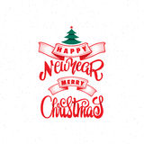 Texte 2017 de main-lettrage de Joyeux Noël et de bonne année Calligraphie faite main de vecteur pour votre conception Photo stock