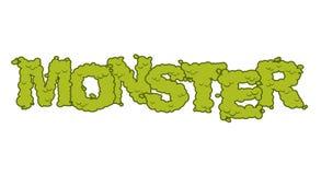 Texte de monstre Lettrage et typographie effrayants Terribles verts ont laissé illustration de vecteur