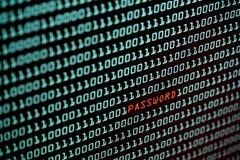 Texte de mot de passe et concept de code binaire de l'écran de bureau, foyer sélectif images stock