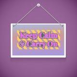 Texte de motivation Gardez le calme et continuez Photos libres de droits