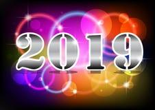 Texte de néon de 2019 bonnes années Calibre de conception de la nouvelle année 2019 pour les insectes saisonniers illustration libre de droits
