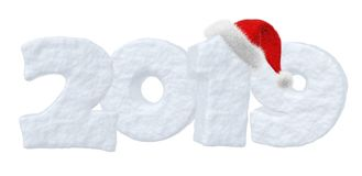 Texte 2019 de neige de bonne année avec le chapeau de rouge de Santa Claus Illustration Libre de Droits