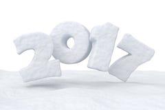 Texte de neige de 2017 bonnes années au-dessus de la surface de neige Photographie stock